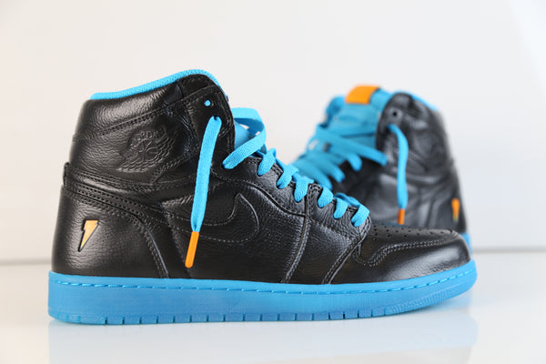 Nike Air Jordan Retro 1 High OG Custom Gatorade Black Blue Lagoon AJ5997-455  size 10.5