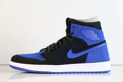 4b452fb33deb Nike Air Jordan Retro 1 Hi Flyknit Black Game Royal 919704-006