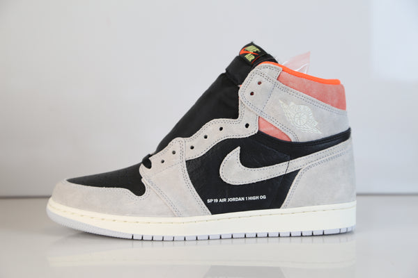 Nike Air Jordan Retro 1 High OG Neutral Grey Hyper Crimson Black 555088-018