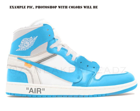 Nike X Off-White Virgil Abloh Air Jordan Retro 1 High Part 2 White University Blue 2018 AQ0818-148 PRE ORDER
