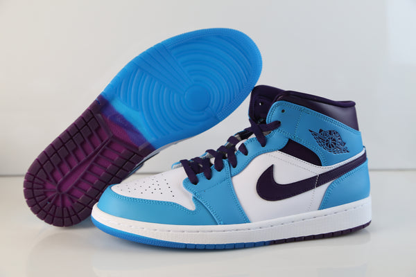 Nike Air Jordan Retro 1 Mid Blue Lagoon Grand Purple 554724-415