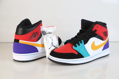 Nike Air Jordan Retro 1 Mid Multi Color White Black 554724-125