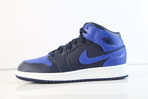 Nike Air Jordan Retro 1 Mid Obsidian Blue Game Royal BG GS 554725-412