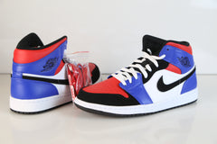 Nike Air Jordan Retro 1 Mid Top 3 White Black Hyper Royal 554724-124