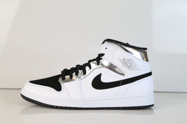 Nike Air Jordan Retro 1 Mid White Metallic Silver Black 554724-121