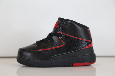 Nike Air Jordan Retro 2 Alternate 87 Black Red Kids Toddler TD and PS Preschool 395719-002 2c-3y
