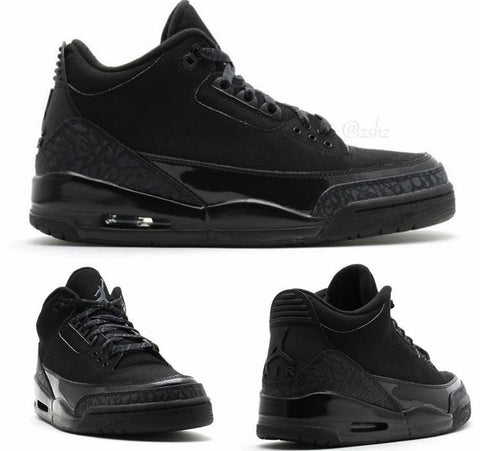 Nike Air Jordan Retro 3 Black Cat Black 136064-011 2017 Adult and GS PRE ORDER