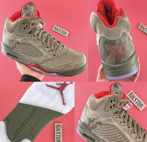 Nike Air Jordan Retro 5 Dark Stucco Olive Red 2017 PRE ORDER