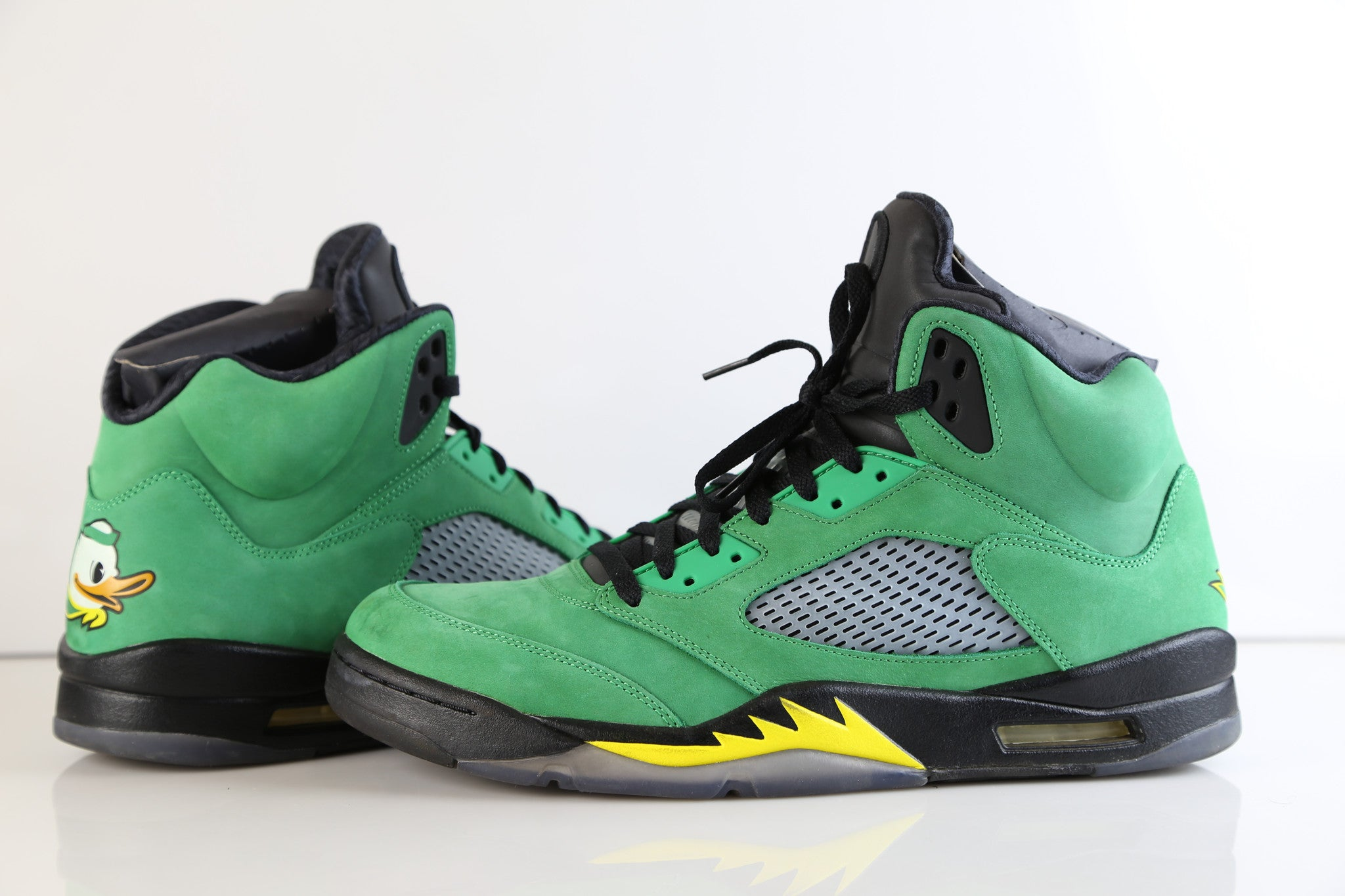 5c2212285aaa Nike Air Jordan Retro 5 Oregon Ducks Apple Green PE Sample size 14 (NO
