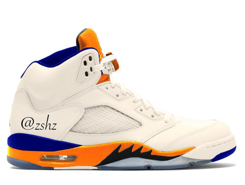 Nike Air Jordan Retro 5 Sail Orange Peel Black Hyper Royal 136027-148 Adult and GS PRE ORDER