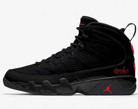 Nike Air Jordan Retro 9 Black Anthracite University Red 2018 302370-014 Adult and GS PRE ORDER