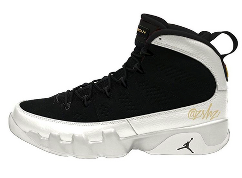 Nike Air Jordan Retro 9 Black Summit White Metallic Gold 2018 302370-021 Adult and GS PRE ORDER