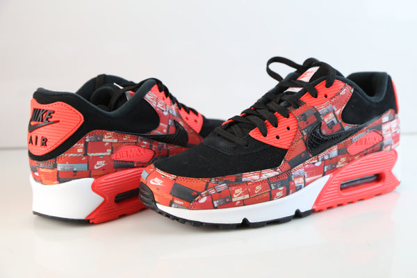 Nike Atmos Air Max 90 PRNT We Love Nike Black Bright Crimson