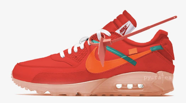 Nike Off-White Virgil Abloh Air Max 90 University Red Team Orange Hyper Jade Mango AA7293-600 PRE ORDER