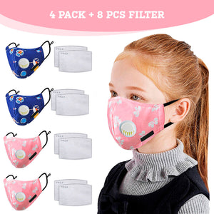 Kids Dustproof Face Mask with Filters (4Pack+8pcs Filter)