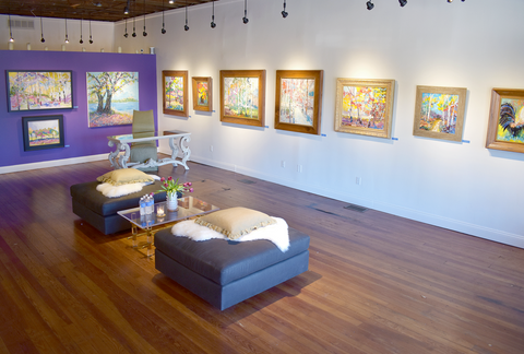 view of Karen Rolfes' fall art show with abstract landscape art on canvas