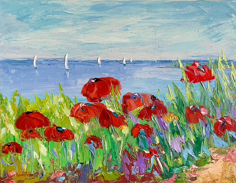 oil painting of poppies