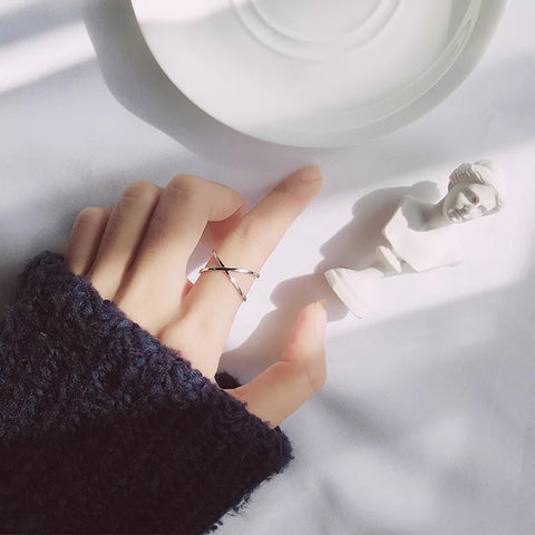 Crossed Silver Ring