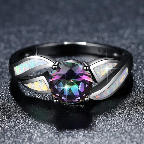 Fire Opal Black Rainbow Ring