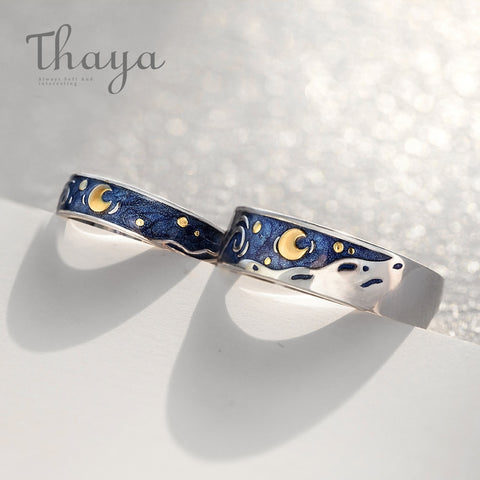 Van Gogh's Starry Night Couples Rings