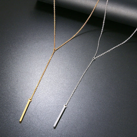 Long Drop Pendant Necklace