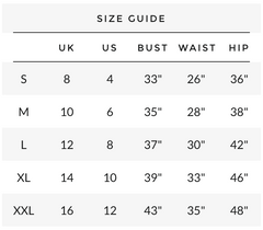 Kiki clothing Size chart