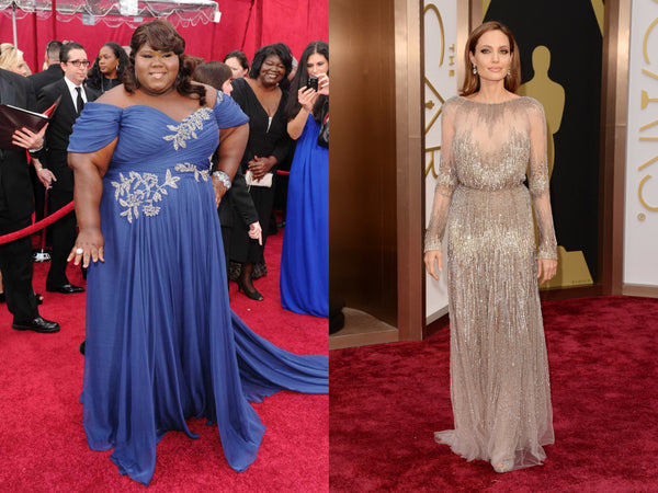 Gabourey Sidibe and Angelina Jolie