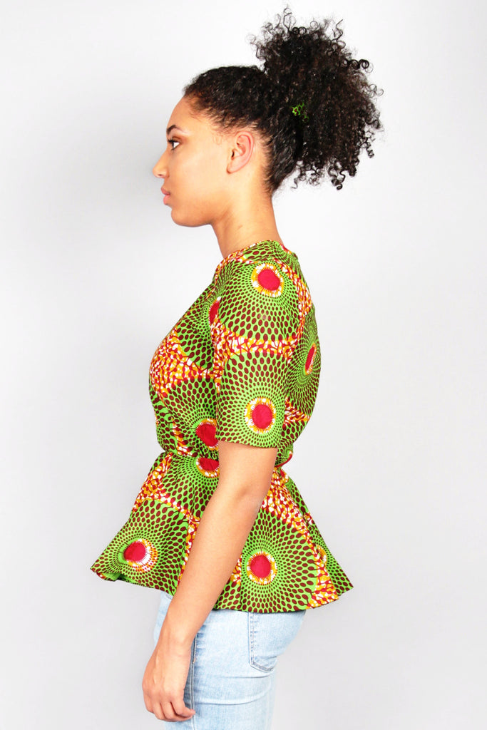 Shop Kuwala.co for the Abora Peplum Top (Green) by Atelier D'Afrique