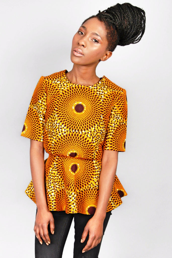 Shop Kuwala.co for the Abora Peplum Top (Orange) by Atelier D'Afrique