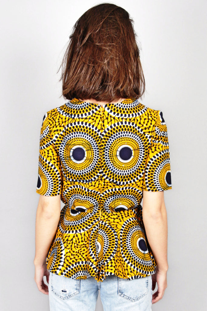 Shop Kuwala.co for the Abora Peplum Top (Yellow) by Atelier D'Afrique