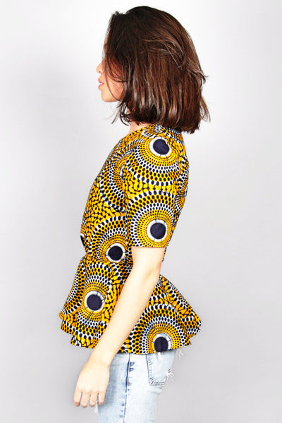 Shop Kuwala for the Abora Peplum Top (Yellow) by Akwan2fo