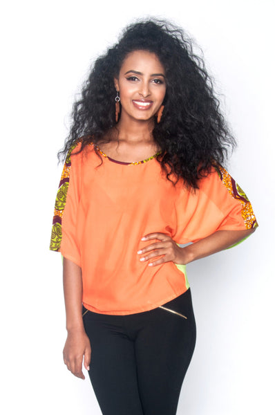 Shop at Kuwala for the Arama Top (orange) by Ajepomaa Design Gallery - 1
