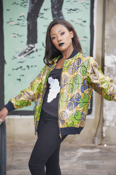 Ankara Bomber Jacket (metallic green)