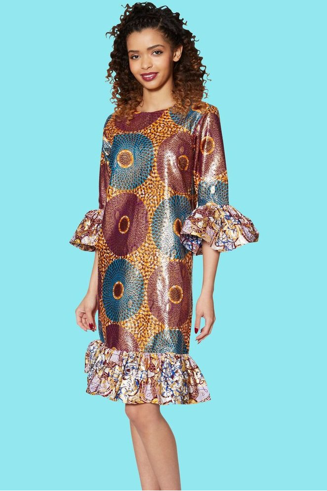 Chi Chi Shift Dress (Gold) - Kuwala