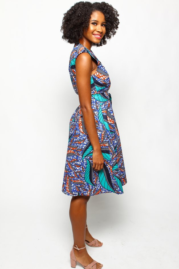 Shop Kuwala.co for the Chima Wrap Dress (Maui Blue) by suakoko betty