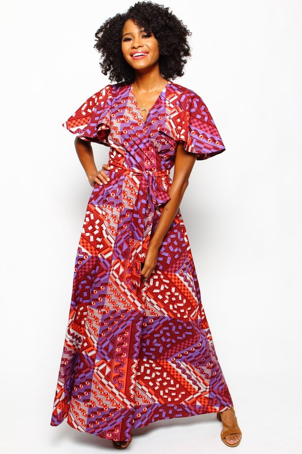 Shop Kuwala.co for the Dinah Wrap Dress (Tropical Punch) by suakoko betty