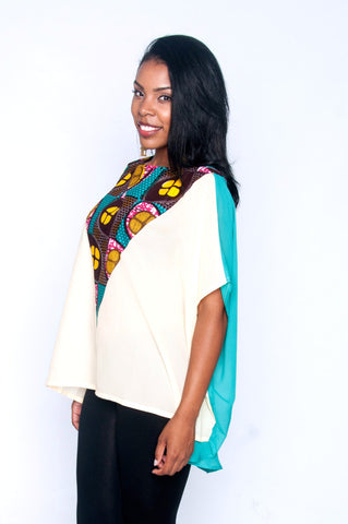 Shop Elorm top (teal) by Ajepomaa Design Gallery at Kuwala