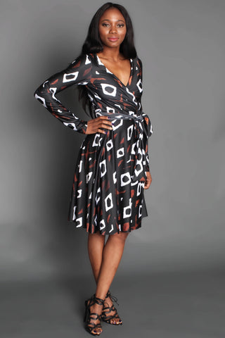 Shop Eniola Wrap Dress (Mudcloth) by Omi Woods at Kuwala