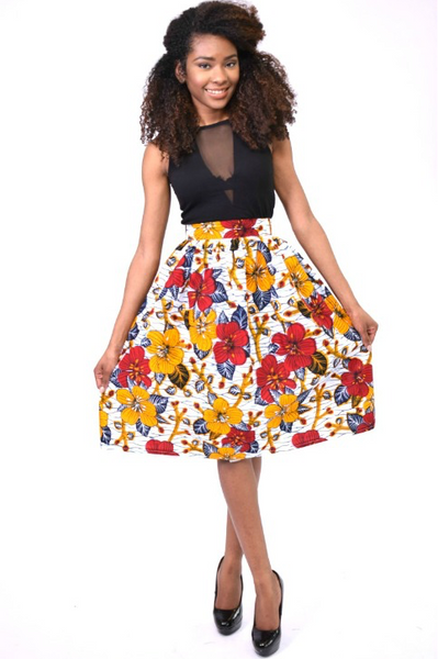 Shop Kuwala.co for the Flowery Midi Skirt (Yellow) by Bebe Rose