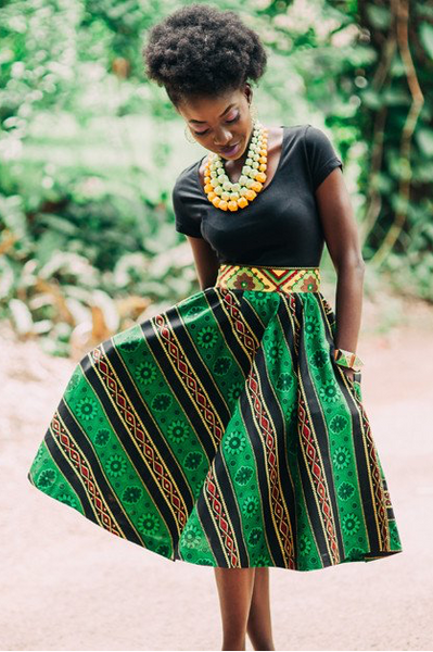 Shop Kuwala for the Full Flare Skirt (Green) by KIKI Clothing