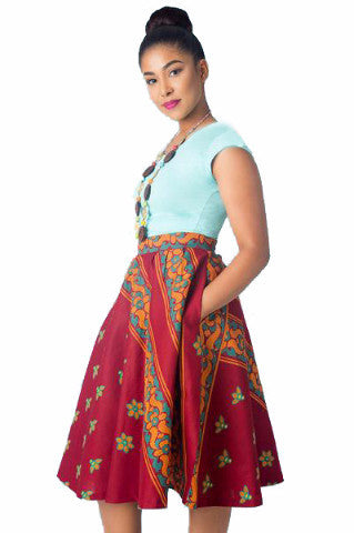 Shop at Kuwala for the Full Flare Skirt (Wine) by KIKI Clothing - 2