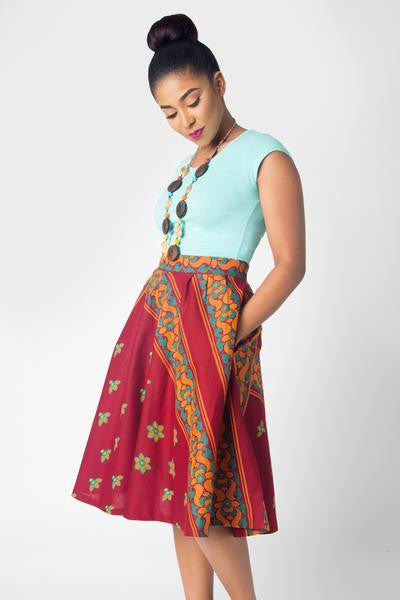 Shop at Kuwala for the Full Flare Skirt (Wine) by KIKI Clothing - 3