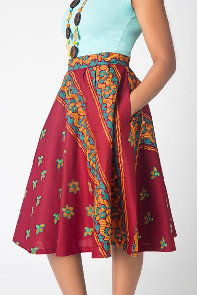 Shop at Kuwala for the Full Flare Skirt (Wine) by KIKI Clothing - 4