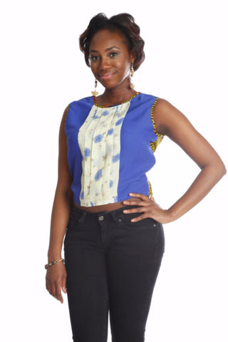 Shop at Kuwala for the La-Ijeoma Crop-top (Blue) by Ajepomaa Design Gallery - 1