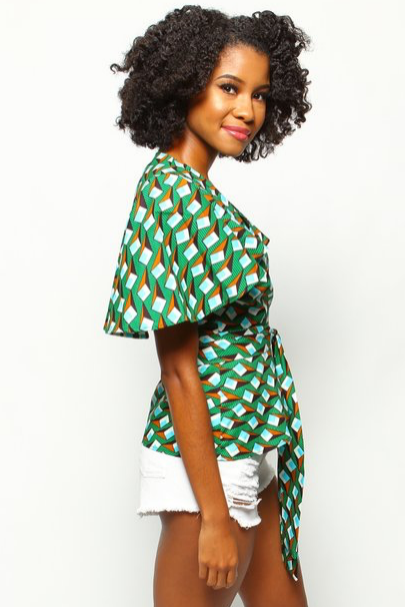 Shop Kuwala.co for the Lango Wrap Blouse (lime) by suakoko betty