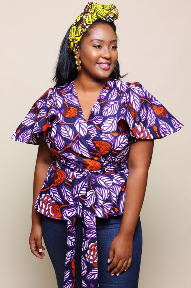 Shop Kuwala.co for the Lango Wrap Blouse (eggplant) by suakoko betty