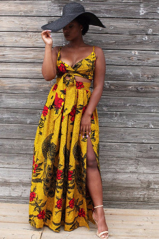 Shop at Kuwala for the Leila Maxi Skirt (Gold) by Asikere Afana - 1
