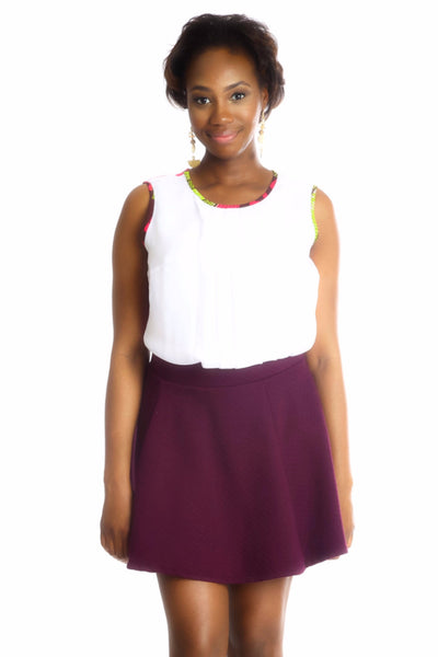Shop at Kuwala for the Fe-Ijeoma Crop-top (White/Pink) by Ajepomaa Design Gallery - 1