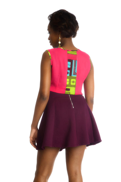Shop at Kuwala for the Fe-Ijeoma Crop-top (White/Pink) by Ajepomaa Design Gallery - 2