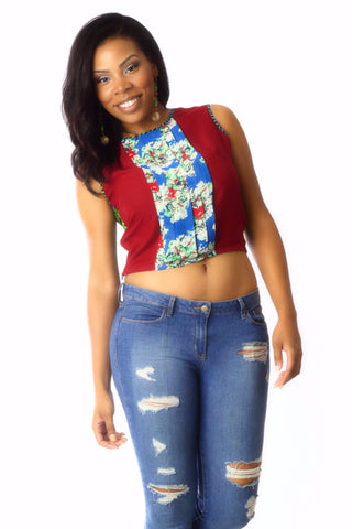 Shop at Kuwala for the La-Ijeoma Crop-top (Maroon) by Ajepomaa Design Gallery - 1